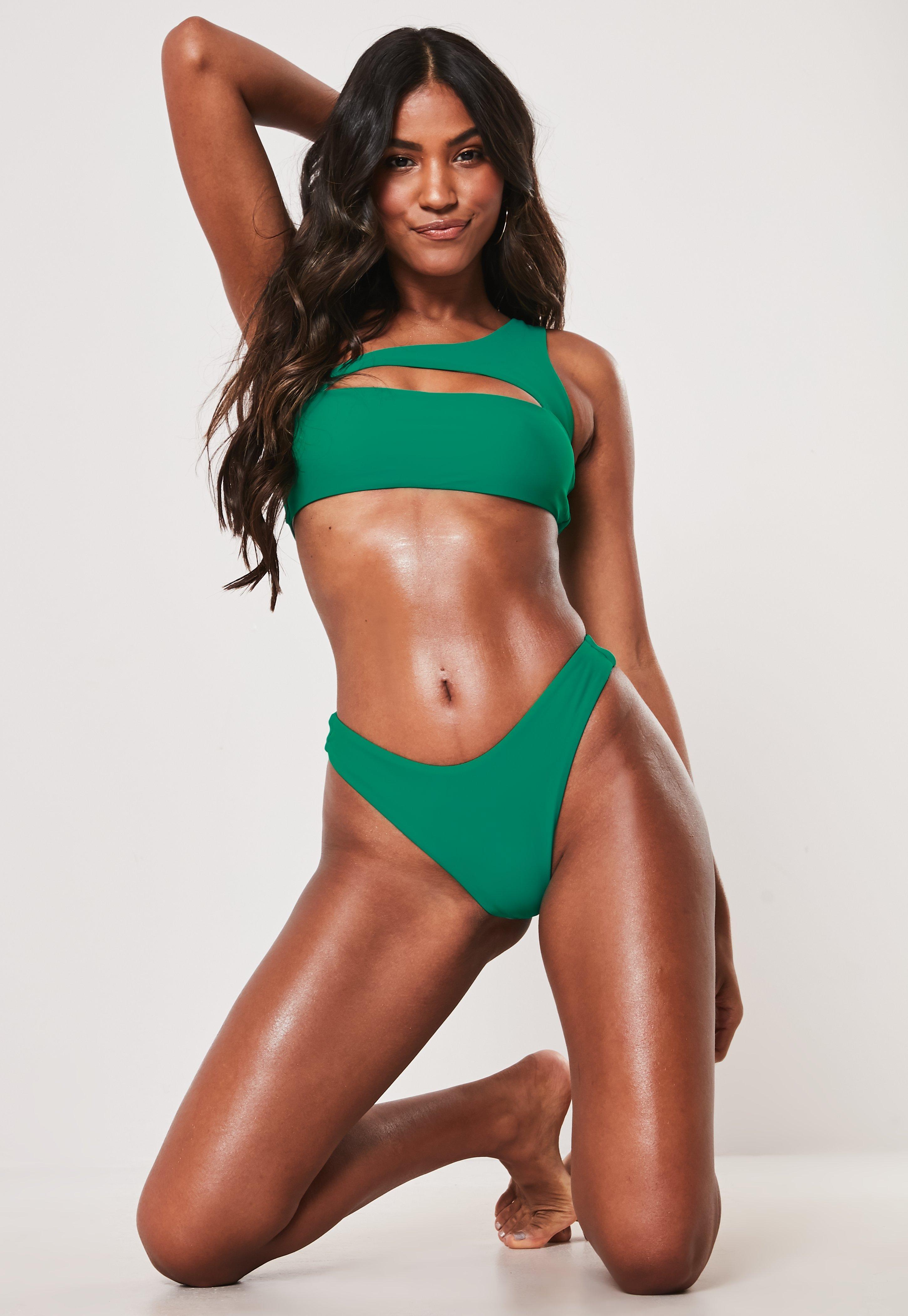 1be5831ddb1 Premium Green One Shoulder Cut Out Bikini Top | Missguided