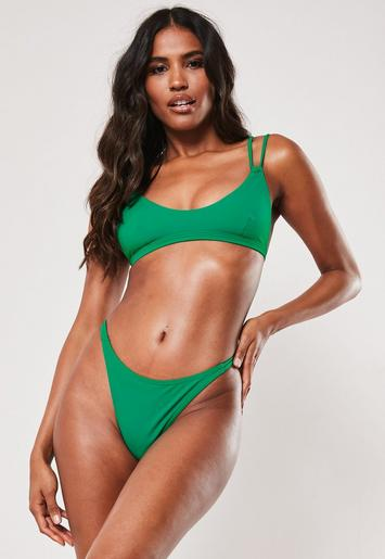 Green Double Strap Super Scoop Bikini Top by Missguided