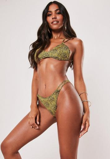 Mustard Paisley Print Scoop Front Bikini Top by Missguided