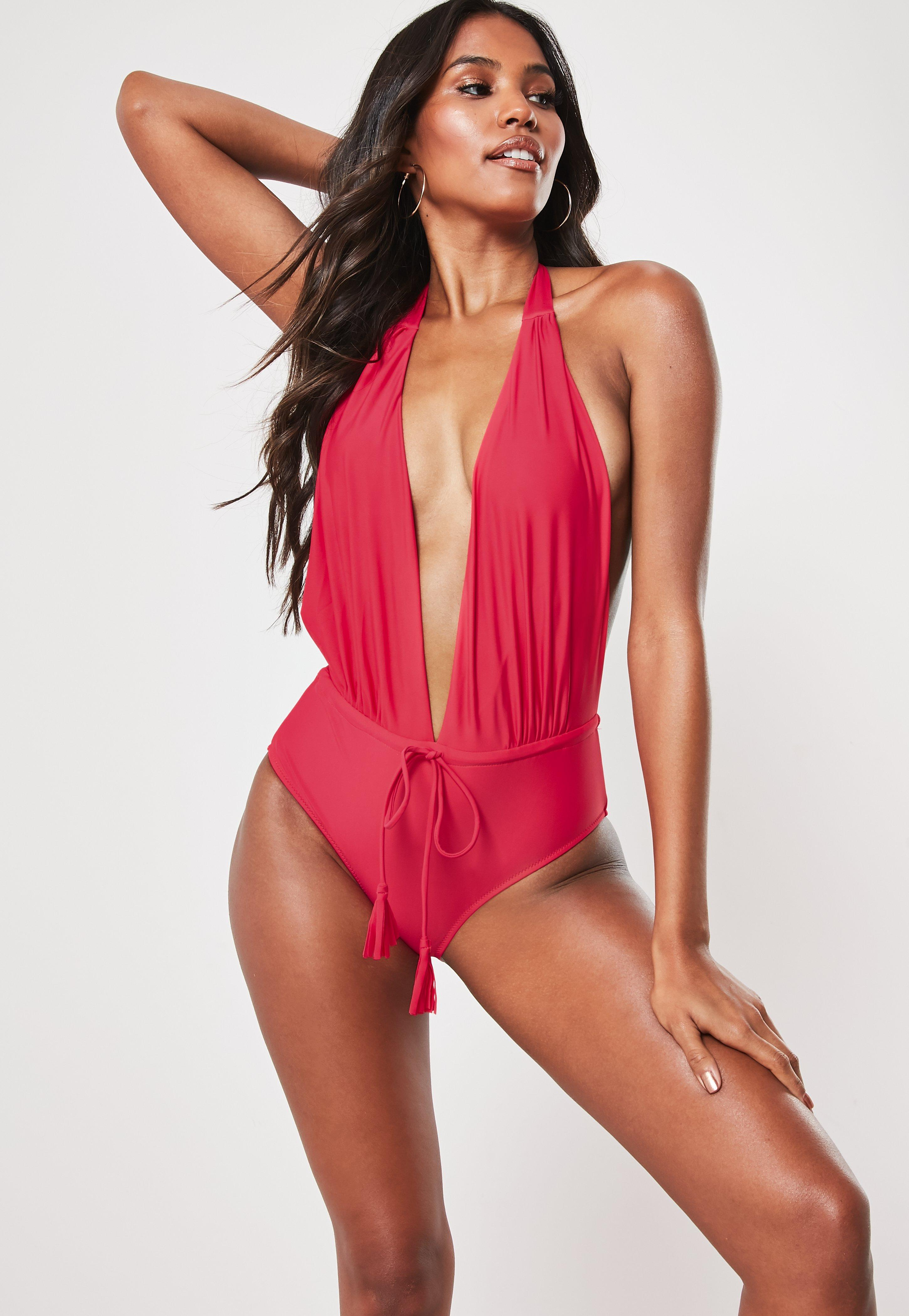 11d6a8a614b Raspberry Halter Neck Plunge Swimsuit
