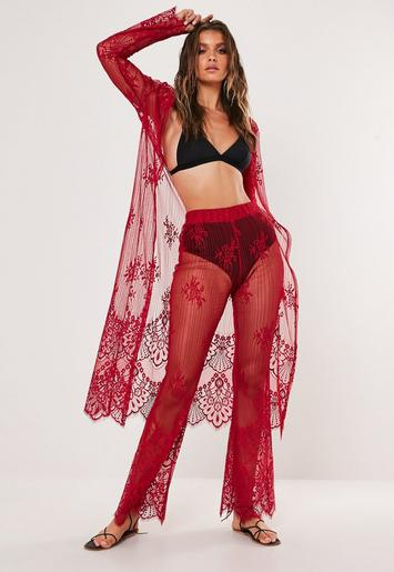 Burgundy Eyelash Lace Kimono Beach Cover Up by Missguided