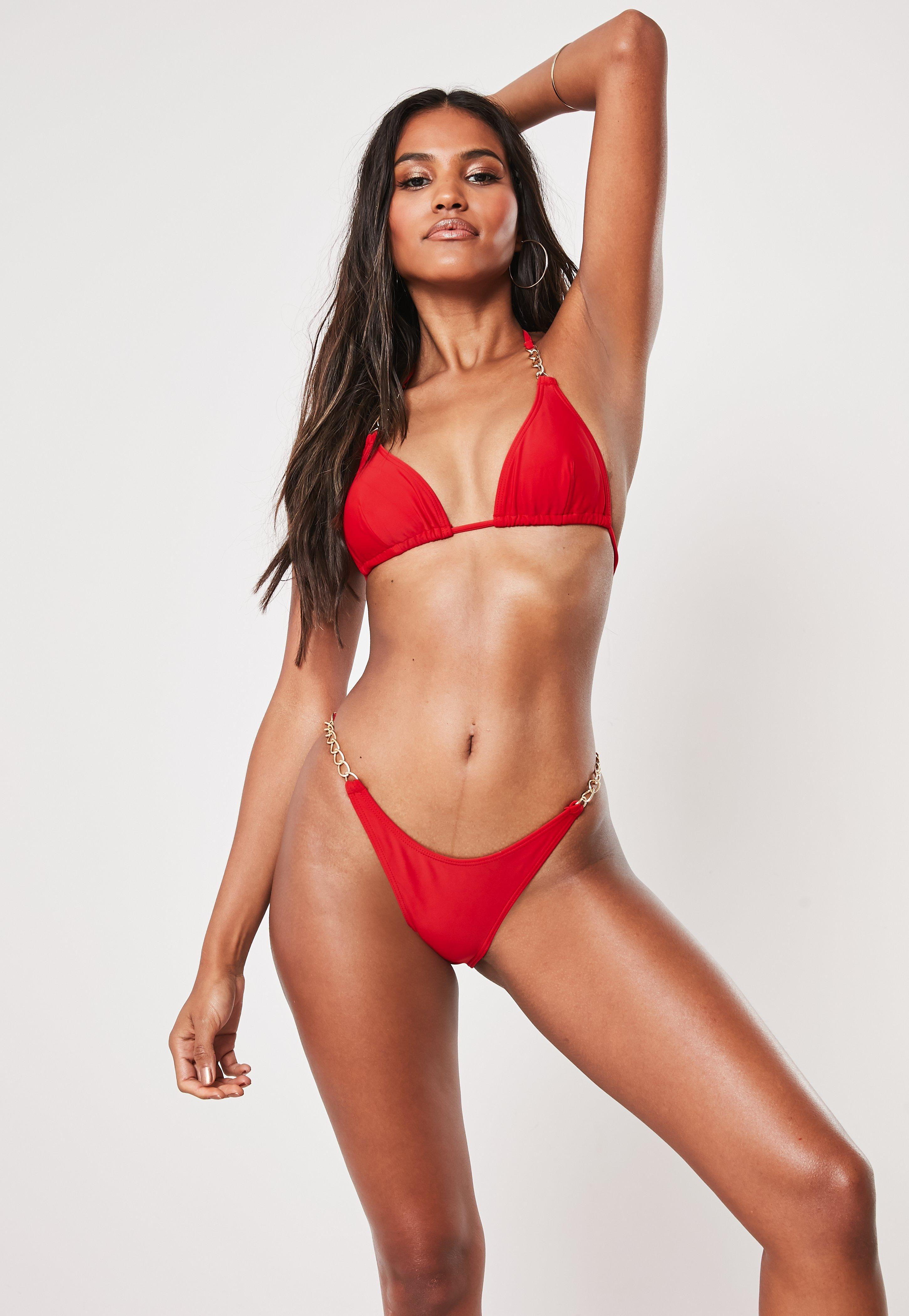 Red Chain Detail Triangle Bikini Top by Missguided