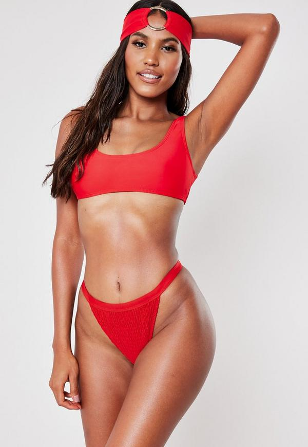 61aeb4af595 red mix and match scoop neck bikini top. $20.00. Red Buckle Strap Square  Neck High Leg Swimsuit