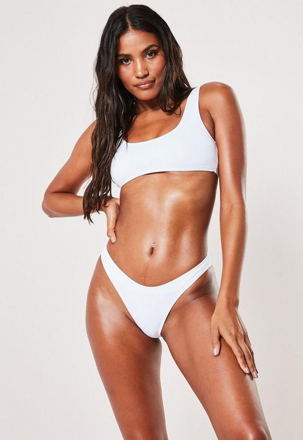 a8e788c751 White Mix And Match High Leg Boomerang Bikini Bottoms | Missguided ...