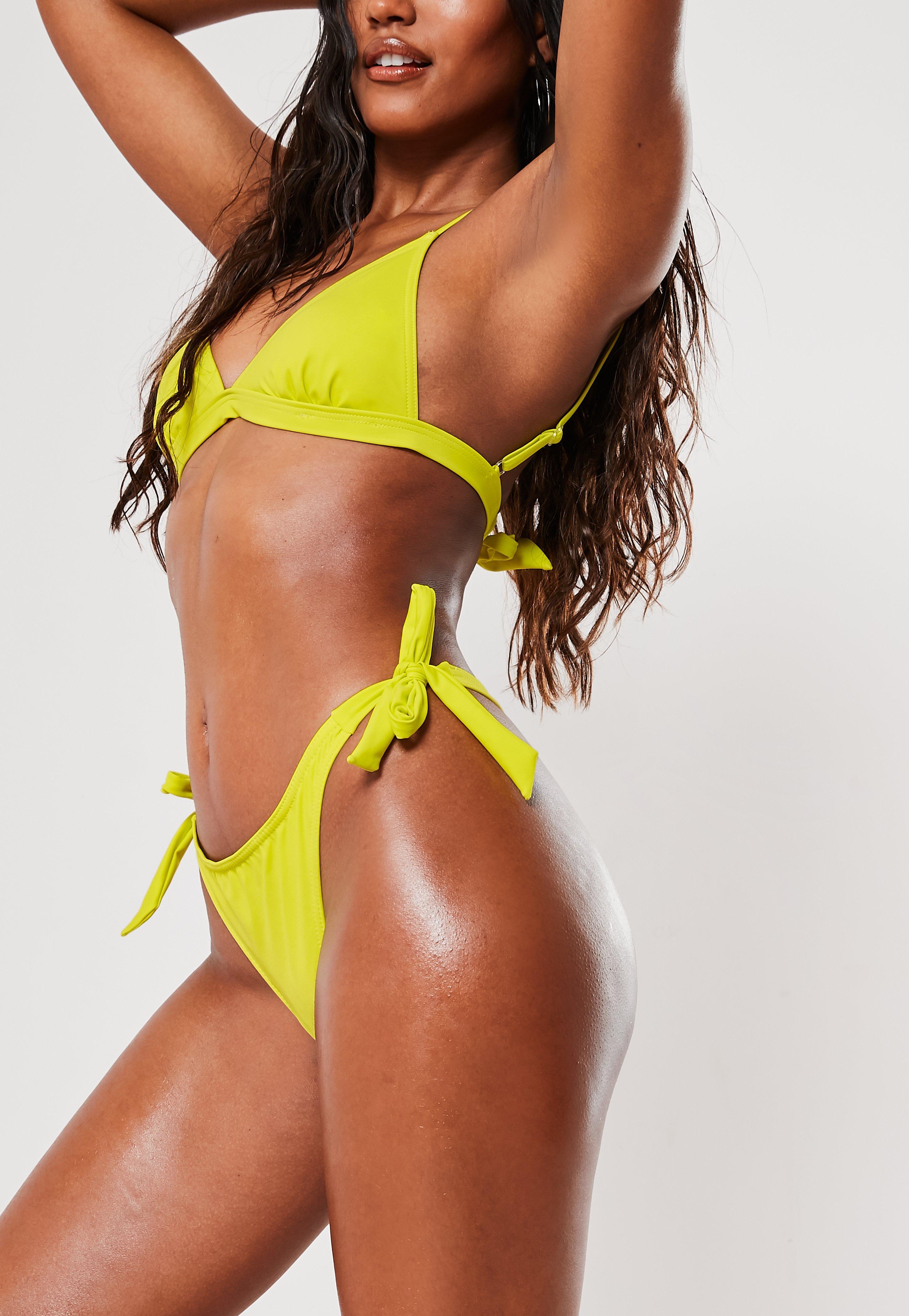 Lemon Recycled Tie Side High Leg Thong Bikini Bottoms by Missguided