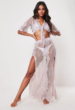 32702adaf2d ... Premium Mauve Co Ord Lace Maxi Beach Skirt