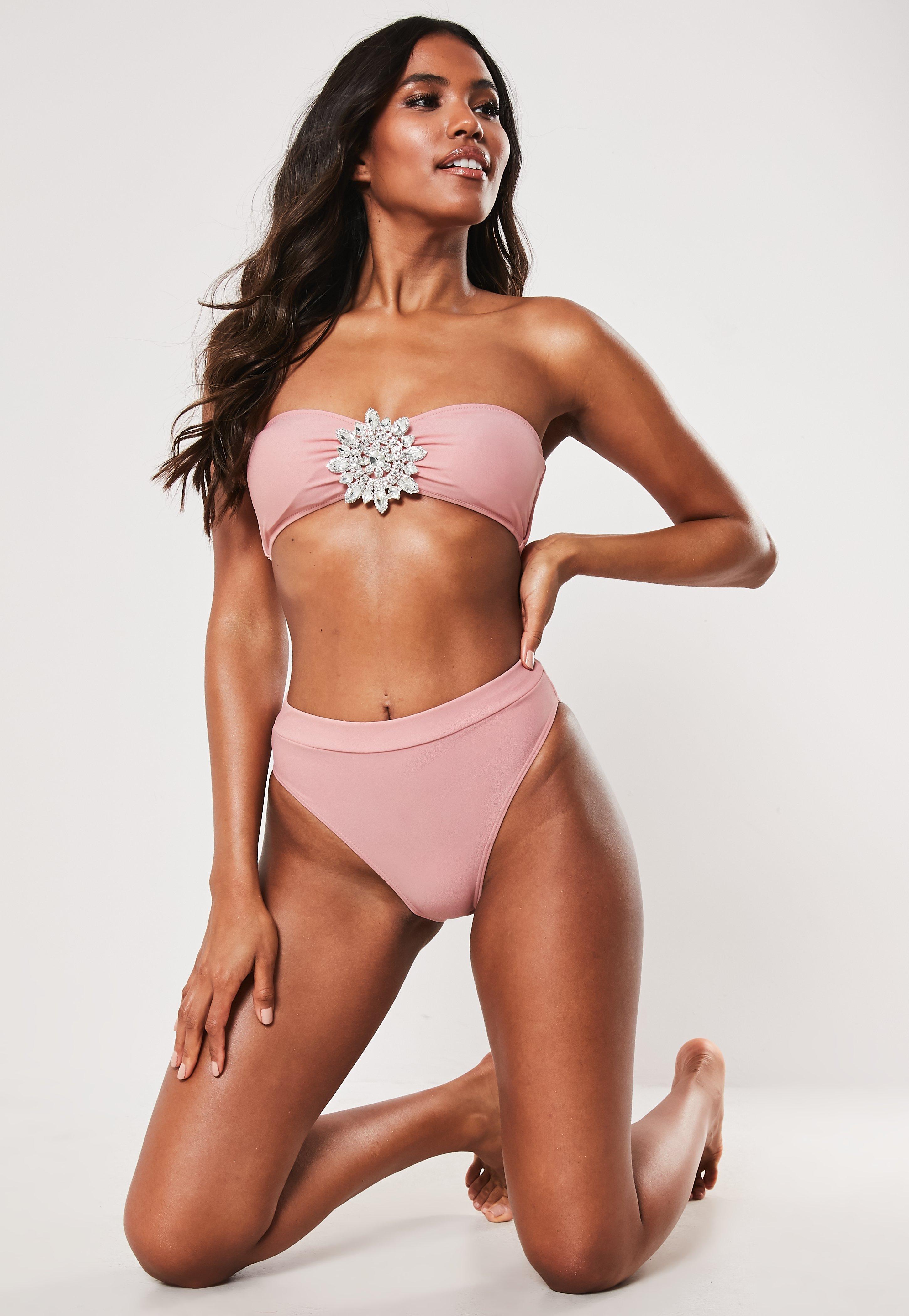 fac769d93573 Bikini braguita premium de tiro alto en rosa