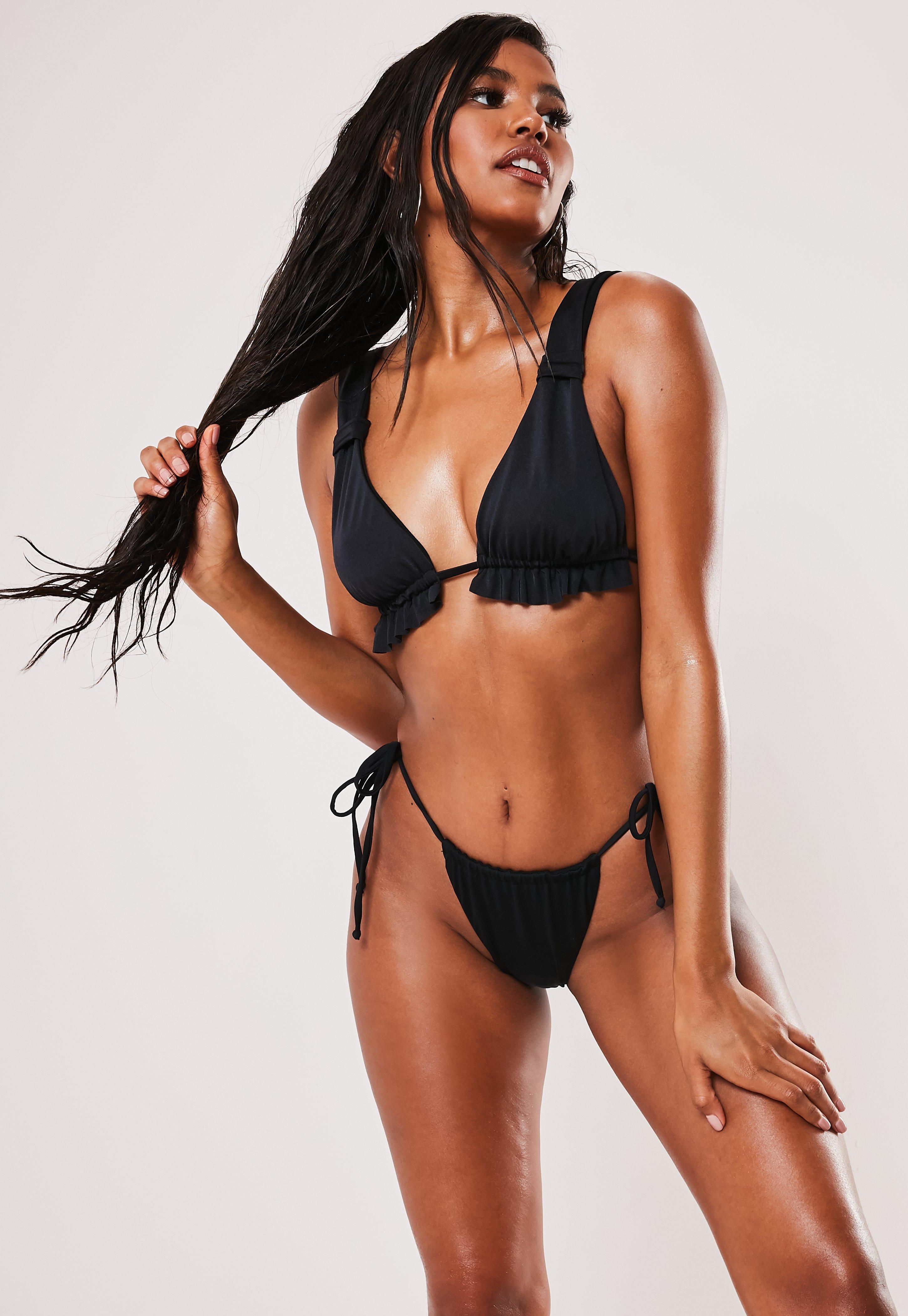 16f8bbf5b1 Black Frill Triangle Bikini Top