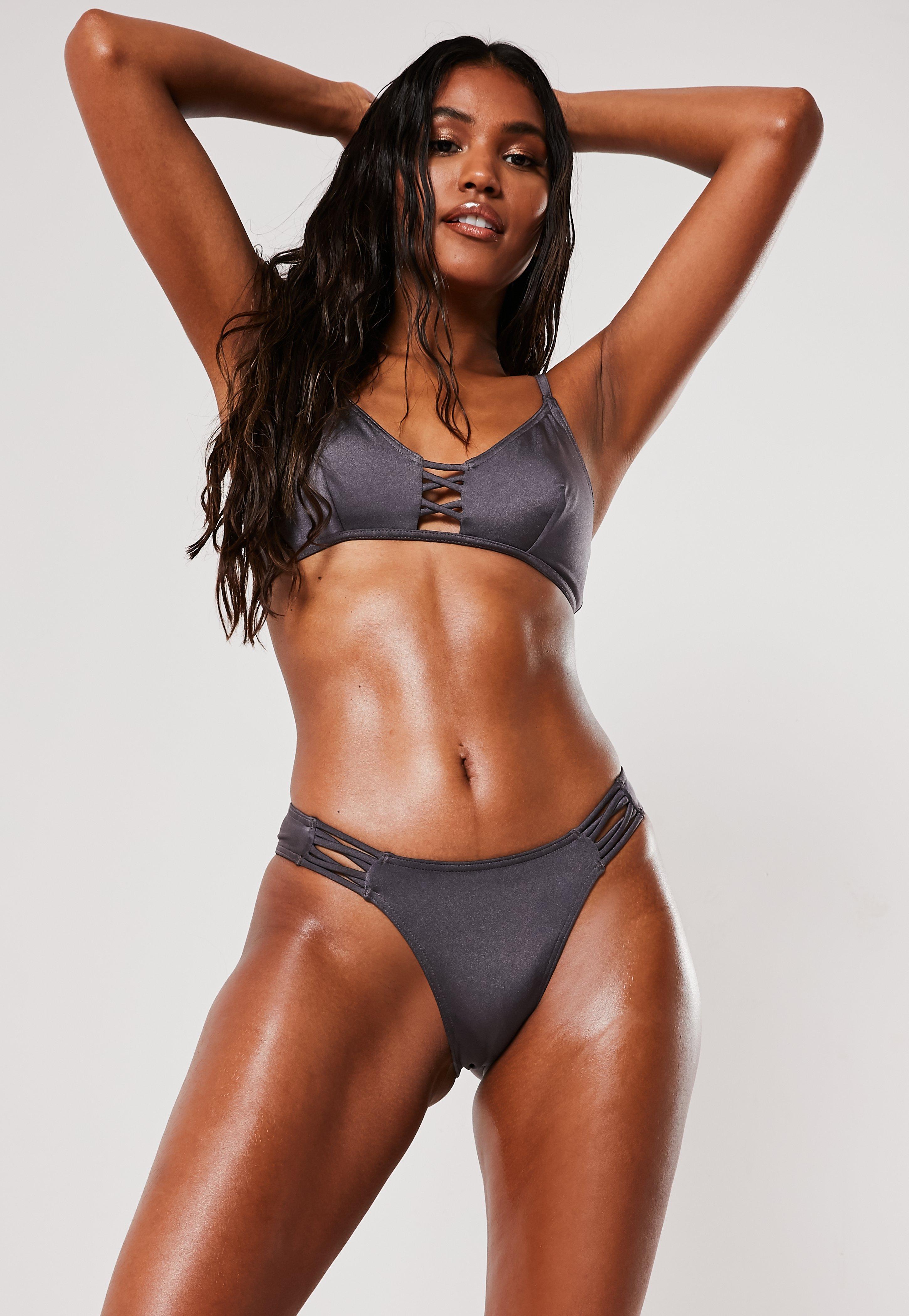 Dark Gray Cross Detail High Leg Boomerang Bikini Bottoms by Missguided