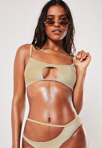 Premium Gold Glitter Scoop Bikini Top by Missguided