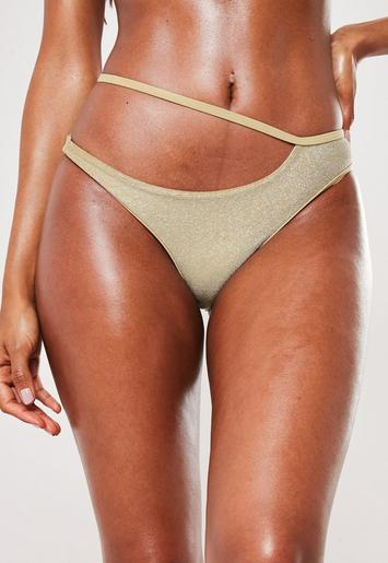 Premium Gold Glitter High Leg Bikini Bottoms by Missguided