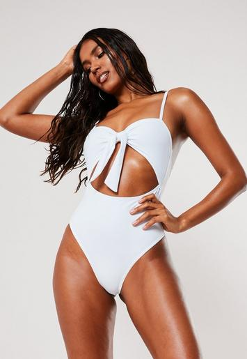 White High Leg Cut Out Swimsuit by Missguided