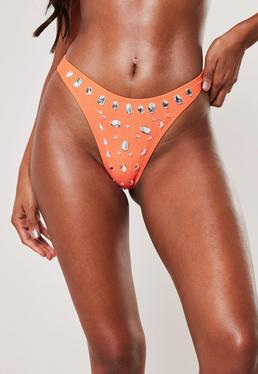 e5dfd066c7 Orange Triangle Bikini Top · Premium Orange Jewel High Leg Boomerang Bikini  Bottoms