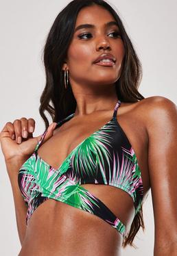 d2076cc4b8 ... Black Floral Print Mix and Match Cross Front Bikini Top