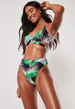 30c5f822e6c4 ... Black Floral Print Mix and Match High Waisted High Leg Bikini Bottoms