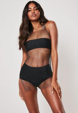 4f65696902 Premium Black Jewelled Fishnet Beach Cover Up Mini Dress