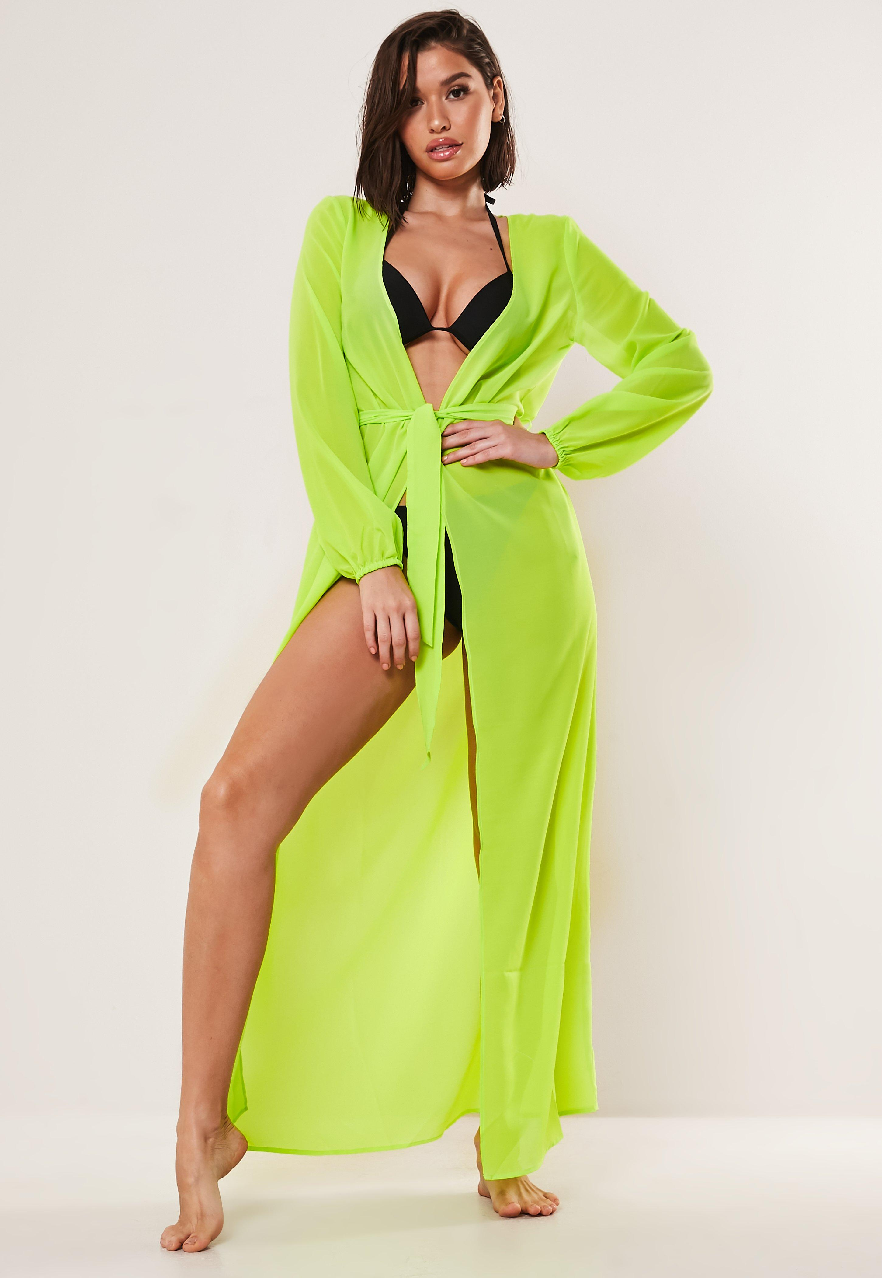 Neon Chiffon Tie Waist Beach Cover Up Kimono by Missguided