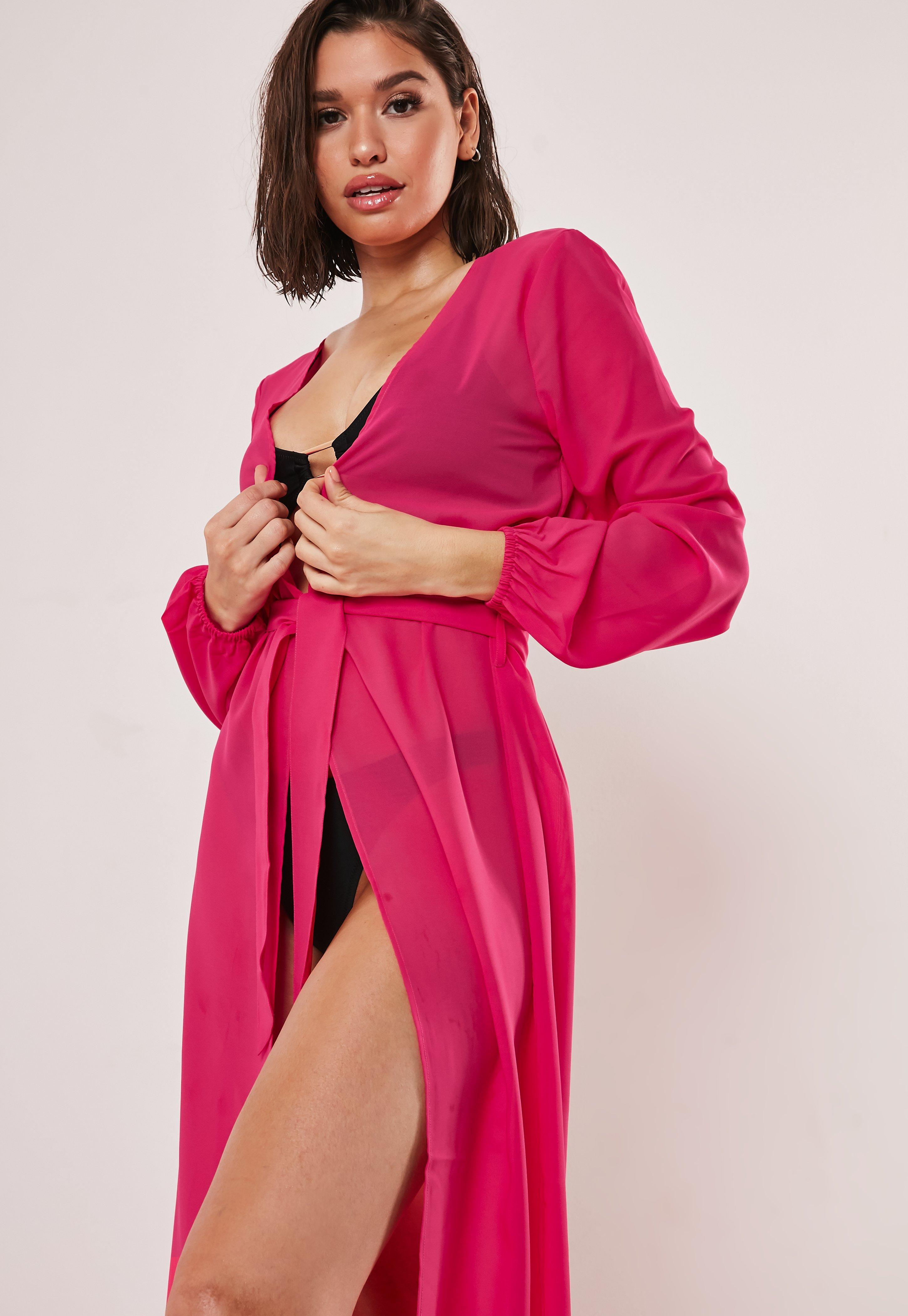 Neon Pink Chiffon Tie Waist Beach Cover Up Kimono by Missguided