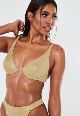 Haut de bikini doré chatoyant en U à armatures, Doré