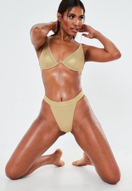 Bas de bikini tanga doré chatoyant avec jambes échancrées, Doré