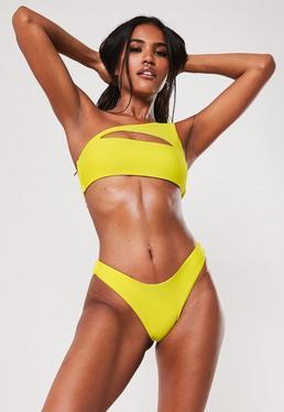 2b7b9da74f8 Champagne Metallic Bandeau Bikini Set · Yellow One Shoulder Cut Out Bikini  Top