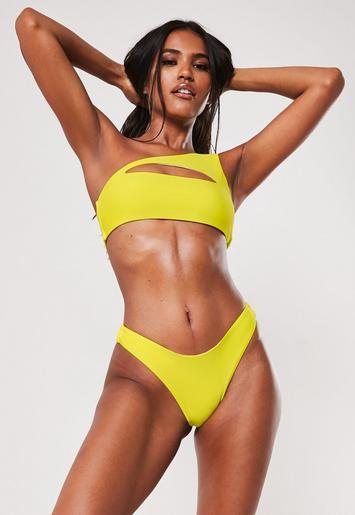 c8de4503b5e Yellow One Shoulder Cut Out Bikini Top | Missguided