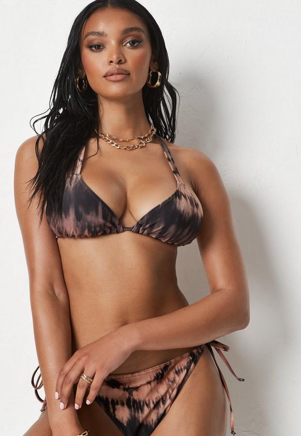 brown fuller bust neutral tie dye triangle bikini top