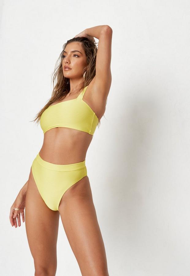 yellow wide rib highwaisted high leg bikini bottoms
