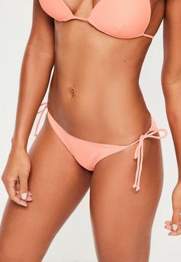 Bas de bikini rose pêche à lanières