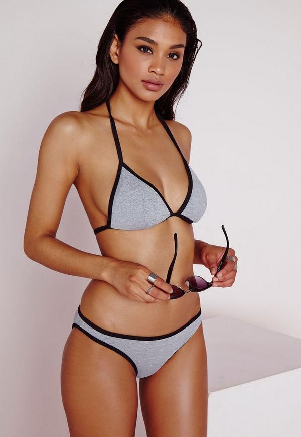 Grey Marl Contrast Bikini