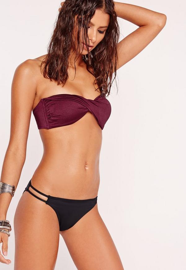 Twist Bandeau Bikini Top Burgundy - Mix & Match