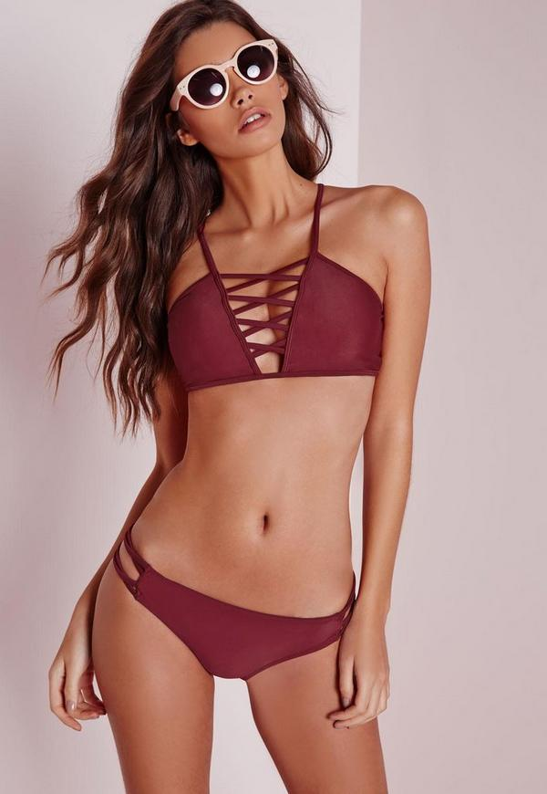 Cross Front Bikini Set Burgundy