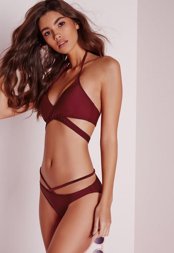 Strappy Bikini Set Burgundy Missguided