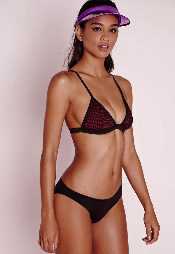 Mesh Triangle Bikini Set Burgundy