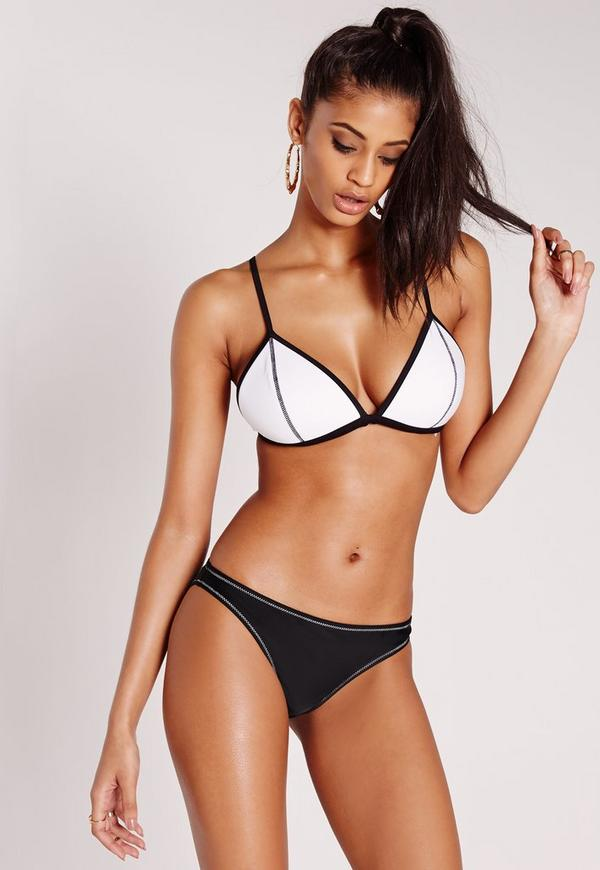 Colour Block Triangle Bikini White