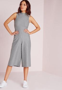 High Neck Pinstripe Culotte Jumpsuit Grey