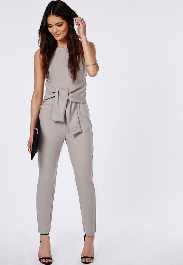 Crepe Tie Waist Jumpsuit Grey