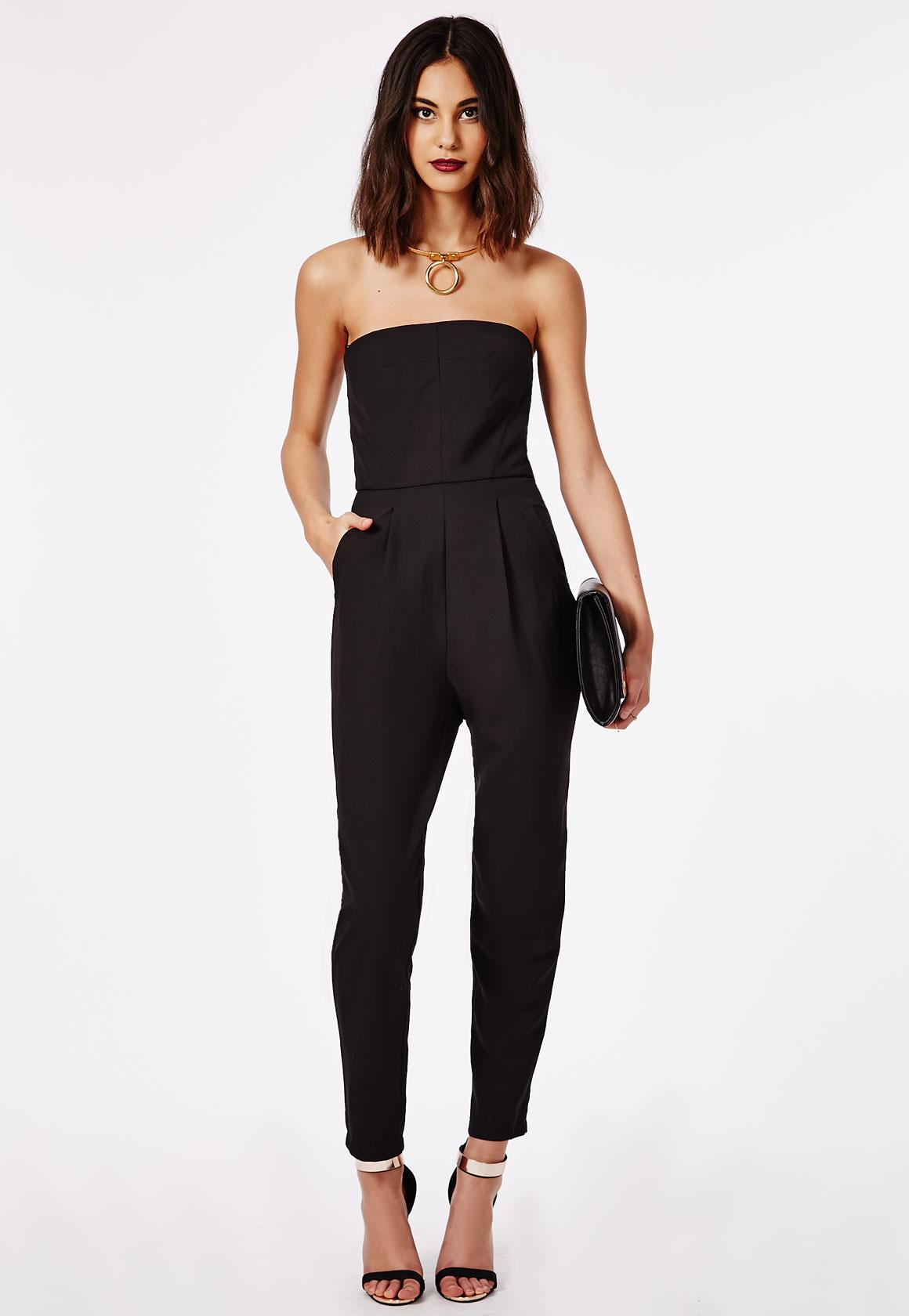 Tailored Bandeau Jumpsuit Black - Jumpsuits - Missguided