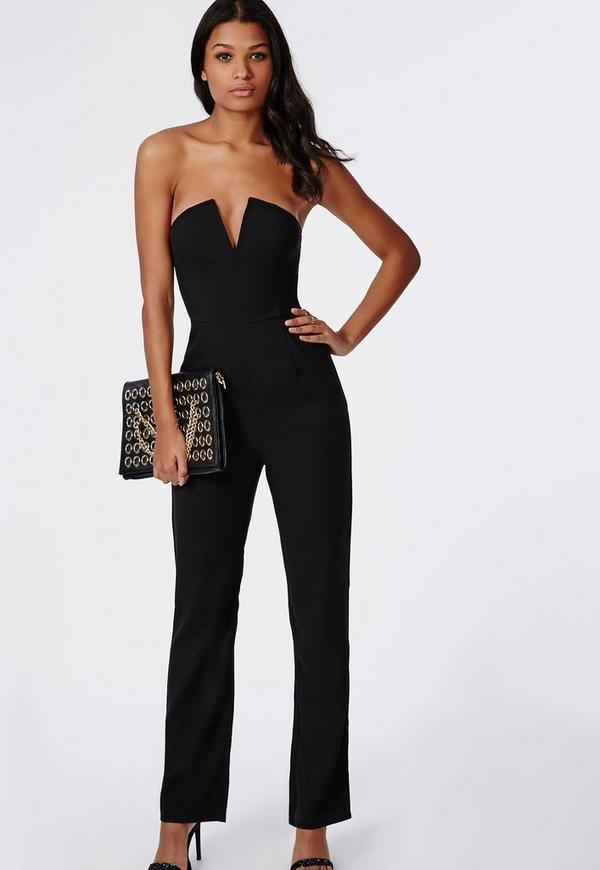 Bandeau Plunge Wide Leg Jumpsuit Black - Jumpsuits - Evening ...