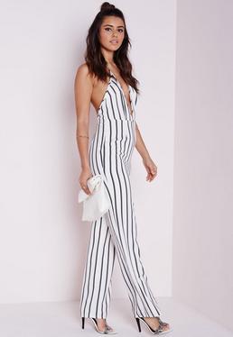 Striped Halterneck Wide Leg Jumpsuit White