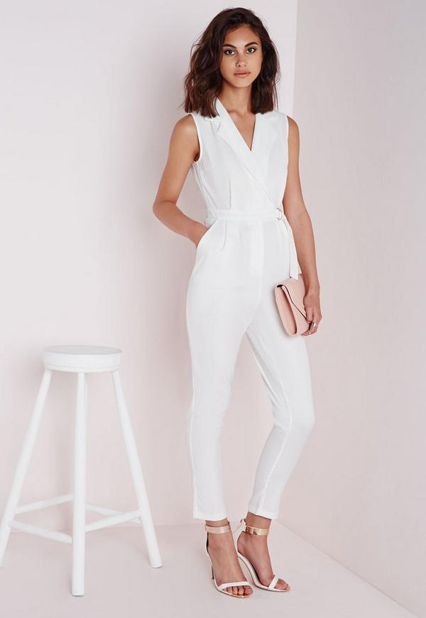 618c04b4566 Sleeveless D-Ring Wrap Jumpsuit White