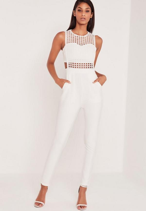 Carli Bybel Caged Jumpsuit White