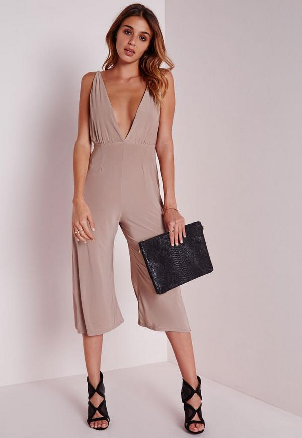 Slinky Strappy Culotte Jumpsuit Taupe