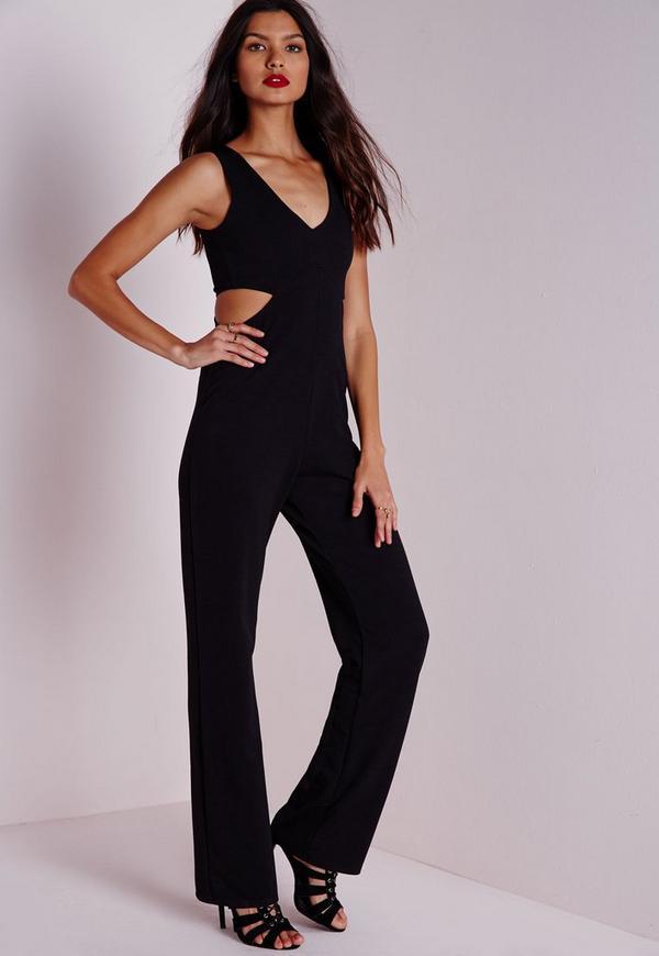 Cut Out Wide Leg Jumpsuit Black