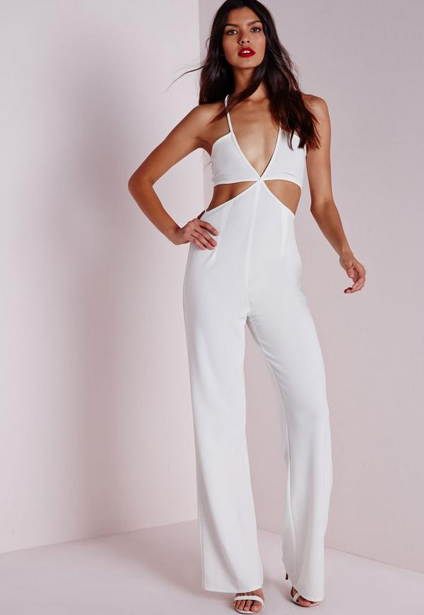 Strappy Plunge Cut Out Jumpsuit White