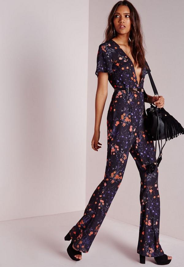 Floral Plunge Wide Leg Jumpsuit Black