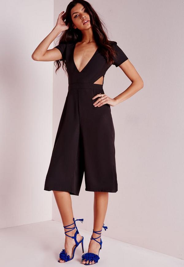 Cut Out Waist Culotte Jumpsuit Black