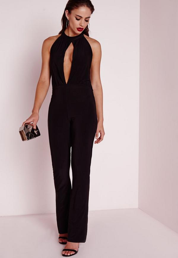 Slinky Split Front Jumpsuit Black