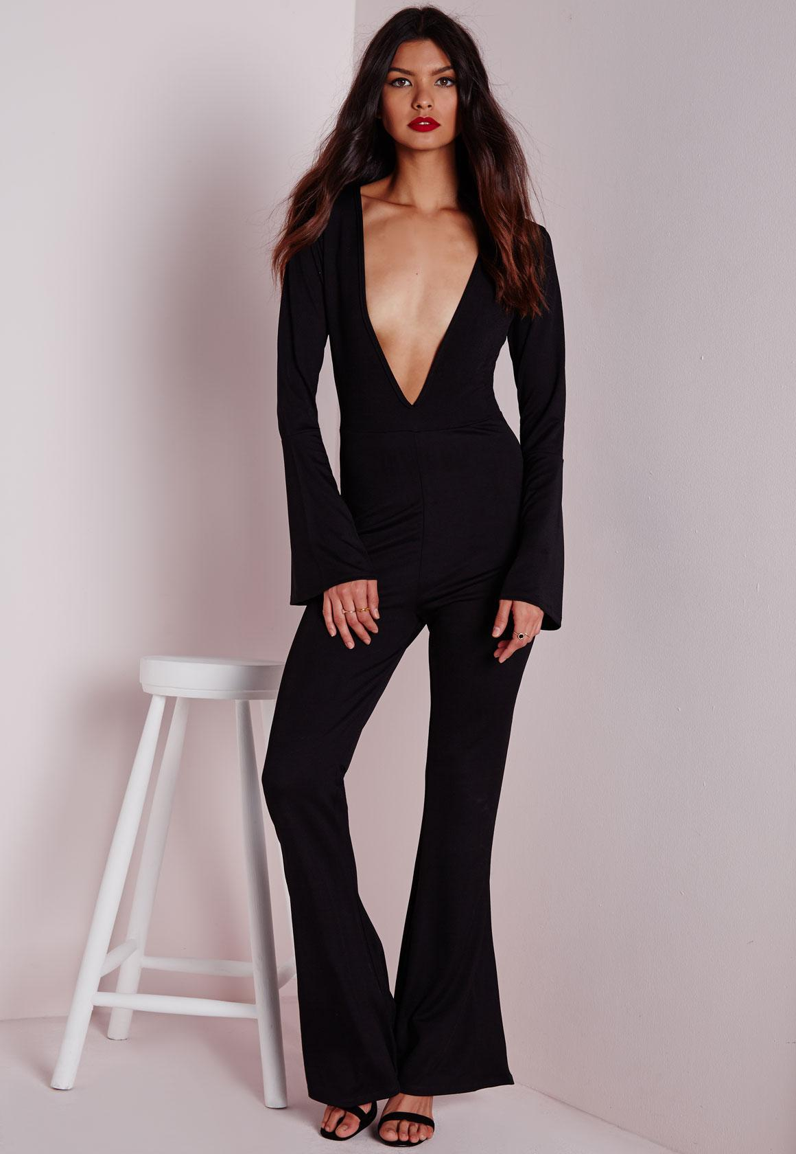 Plunge Flared Sleeve Jumpsuit Black - Plunge - Jumpsuits - Missguided