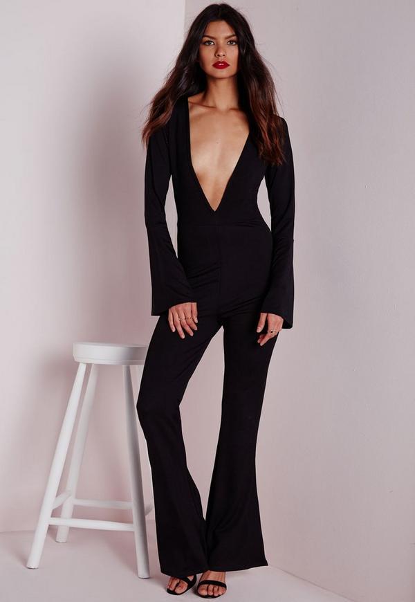 Plunge Flared Sleeve Jumpsuit Black
